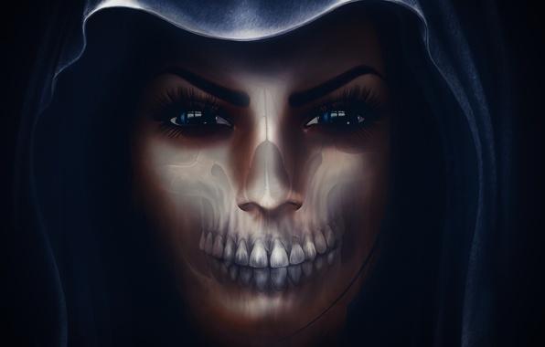 Picture girl, face, skull, hood