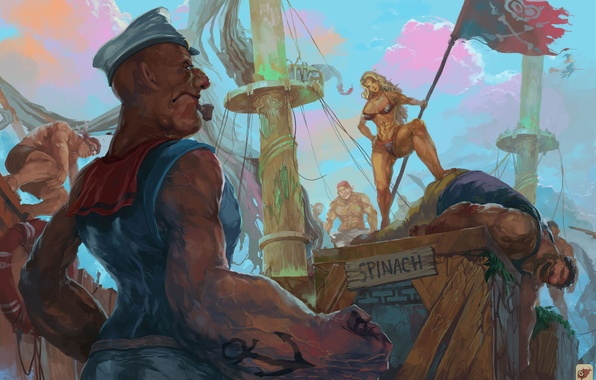 Picture art, crossover, Amazon, Dragon's Crown, Popeye