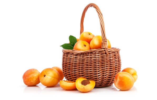 Picture basket, white background, fruit, peaches