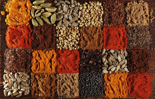 Picture pepper, seeds, carnation, spices, cardamom, paprika, coriander, cumin, turmeric