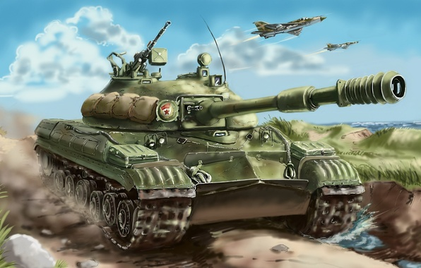 Picture art, fighters, Tank, aircraft, T-10M