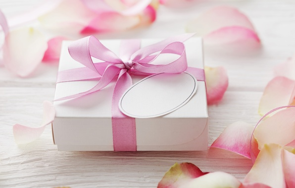 Picture love, gift, roses, petals, love, rose, heart, pink, romantic, Valentine's Day, petals, delicate