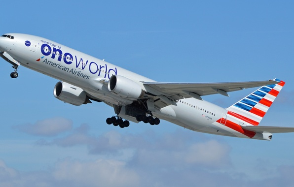 Picture flight, the plane, the rise, Boeing, 200, American Airlines, boeing-777, ONE World
