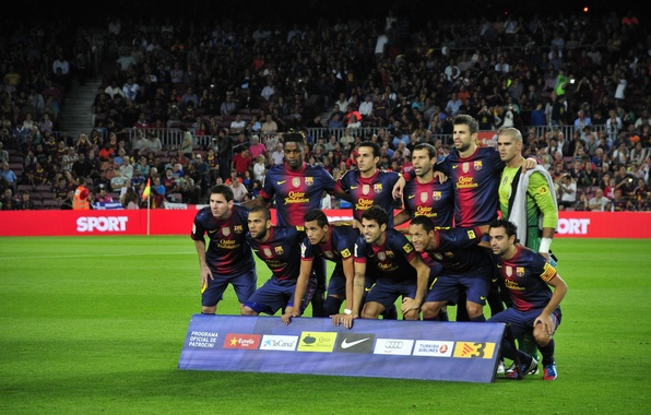 Picture football, team, football, Barcelona, Fabregas, Javi, Barcelona, Camp Nou, Composition, Messi, Sanchez, Mascherano, Pedro, Alves, …