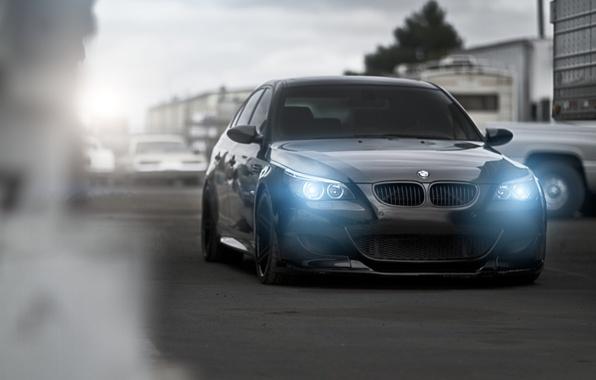 Picture road, sport, bmw, BMW, blur, sedan, black, front view, cars, headlights, e60
