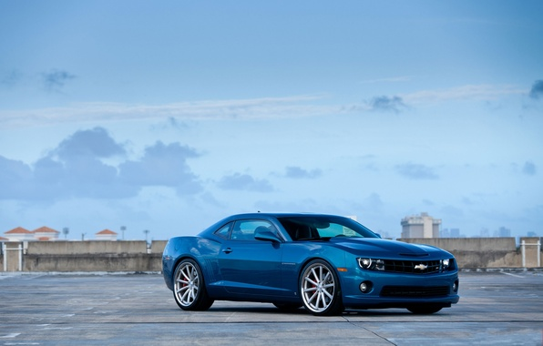 Picture roof, blue, Parking, Chevrolet, front view, chevrolet, blue, parking, camaro ss, Camaro SS