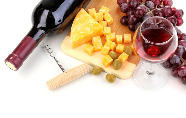 Picture wine, cheese, grapes, Board, olives, Wine, Grapes, Cheese