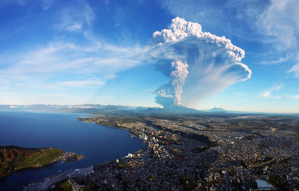 Picture the city, the volcano, the eruption, panorama, Chile, Calbuco Volcano, Puerto Montt