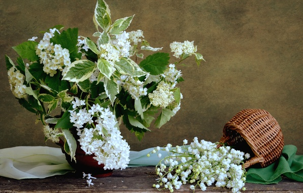 Picture white, basket, bouquet, lilac, Lily of the valley