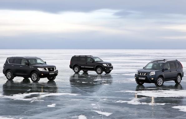 Picture the sky, snow, lake, ice, Baikal, jeep, Nissan, SUV, Nissan, Pathfinder, crossover, Patrol, X-Trail, Patrol, …