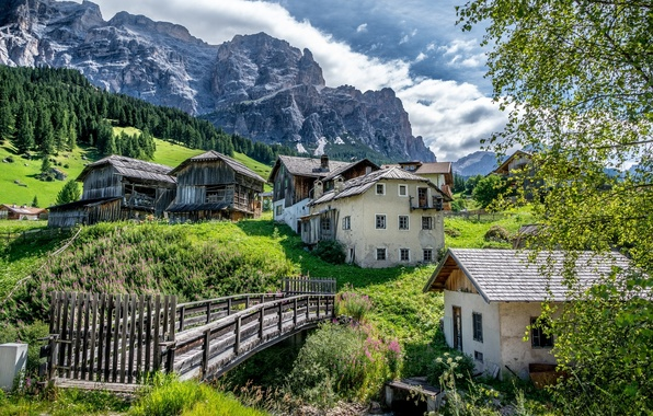 Picture mountains, home, slope, village, Italy, the bridge, Italy, The Dolomites, South Tyrol, South Tyrol, Dolomites, …