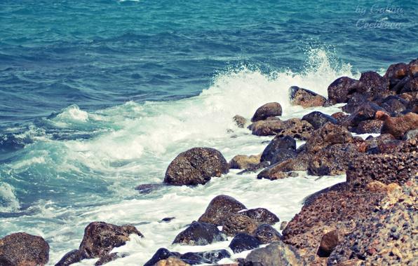 Photo wallpaper sea, wave, blue, Crete, stones, Greece