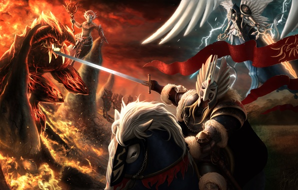 Picture horse, magic, angel, sword, armor, the demon, art, rider, Heroes of Might and Magic