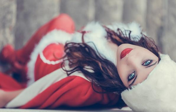Picture look, girl, hat, makeup, brunette, costume, maiden