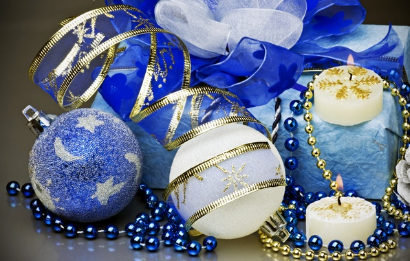 Picture winter, tape, gift, balls, toys, candles, New Year, Christmas, beads, the scenery, white, Christmas, blue, …