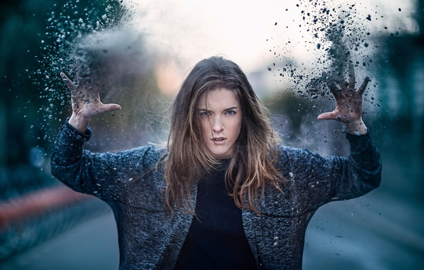 Picture girl, anger, dust, dirt, throw, Explosion