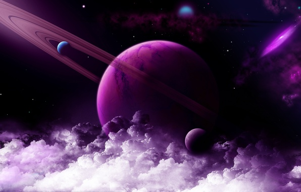 Picture space, stars, clouds, planet