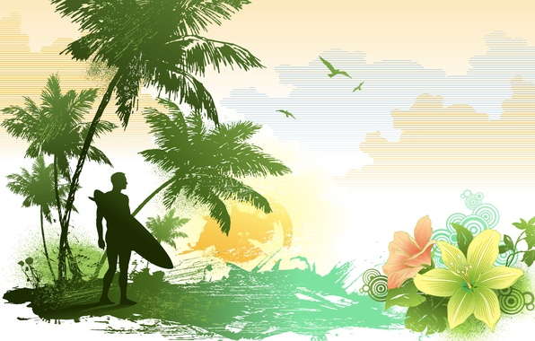 Picture summer, clouds, circles, flowers, palm trees, figure, Lily, seagulls, vector, petals, surfer