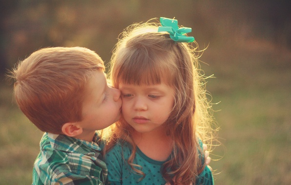 Picture the sun, nature, children, background, Wallpaper, mood, child, kiss, boy, baby, girl, wallpaper, girl, decoration, ...