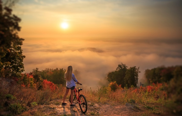 Picture girl, landscape, bike, beauty