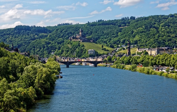 Picture trees, bridge, river, castle, shore, mountain, home, Germany, Cochem, Castle, ships