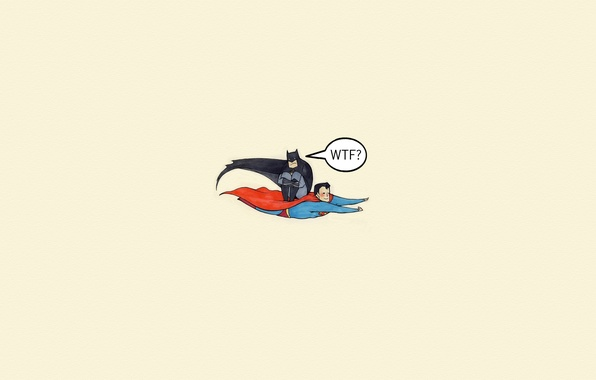 Picture flight, batman, the inscription, the situation, minimalism, Batman, Superman, comic, Superman, WTF