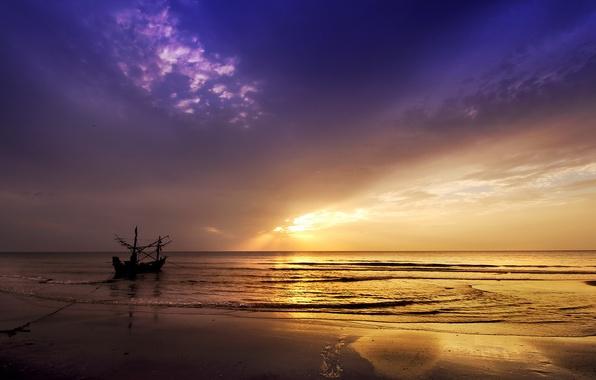Picture sea, landscape, sunset, boat