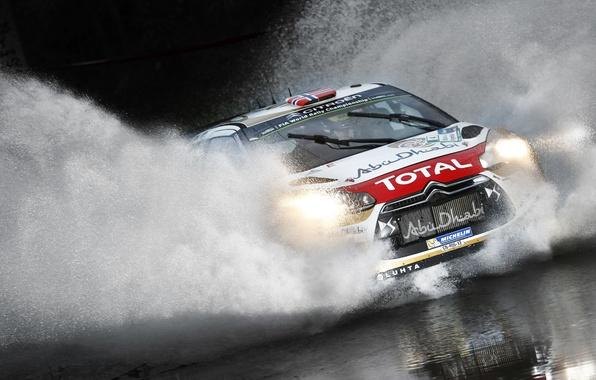 Picture Sport, Machine, Citroen, Puddle, Citroen, Squirt, Lights, Car, DS3, WRC, Rally, Rally, Total