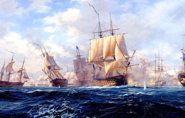 Picture sea, wave, the sky, clouds, sailboat, ships, picture, sea battle, Copenhagen