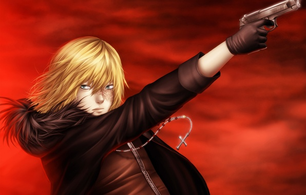 Picture gun, cross, glow, guy, death note, Death note, red sky, scars, Mello, Mihael Keehl, mello