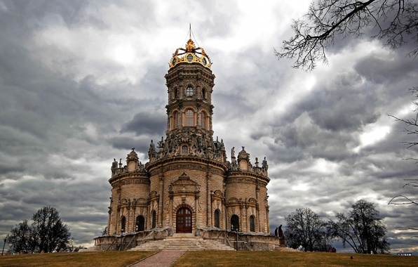 Photo wallpaper clouds, the city, photo, Cathedral, temple, Russia, Podolsk, monasteries, Church Signs, Dubrovitsy