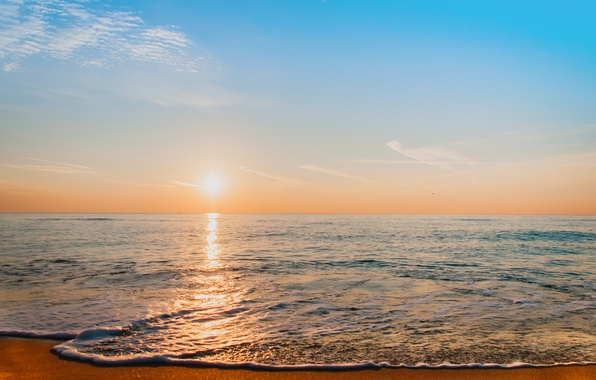 Picture sea, sunset, beach, sea, sunset, sand, wave