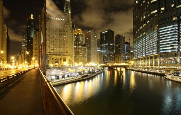 Picture night, the city, lights, river, skyscrapers, Chicago, Illinois