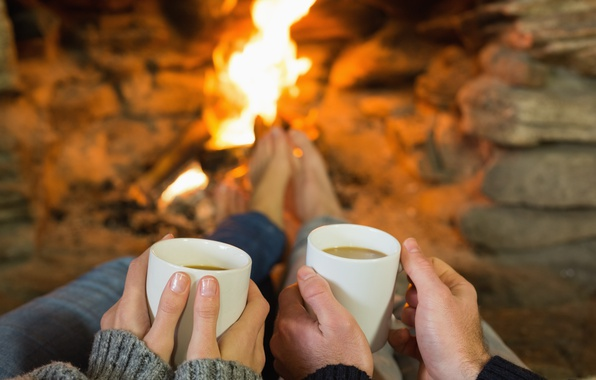 Picture heat, coffee, hands, pair, fireplace, mugs, two, hearth, cozy, fireplace, warm cuppa