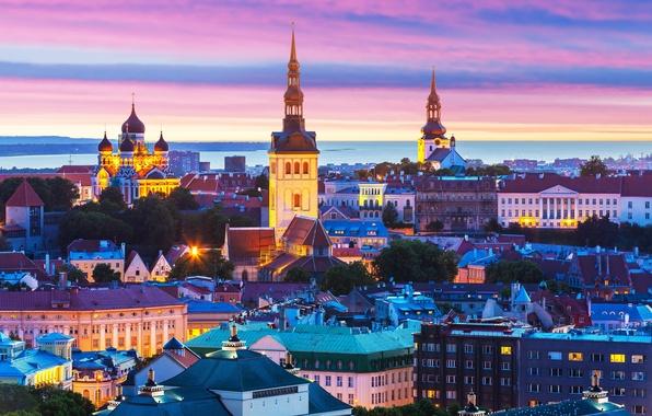 Picture building, Estonia, Tallinn, panorama, night city, Tallinn, Estonia