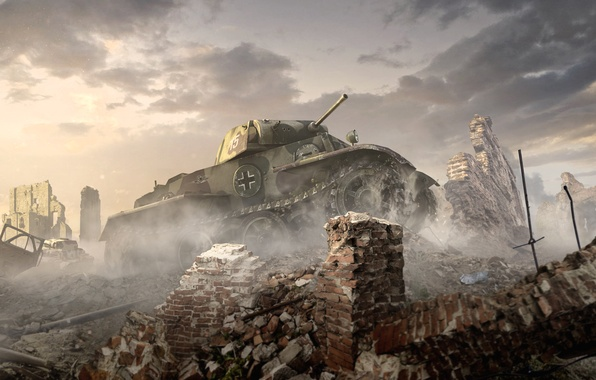 Picture The sky, Clouds, Dust, Smoke, Ruins, Iron, Trunk, Art, WoT, Camouflage, World of Tanks, World …