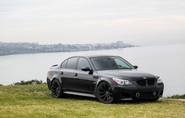 Picture sea, the sky, clouds, lawn, black, bmw, BMW, black, e60, sport sedan