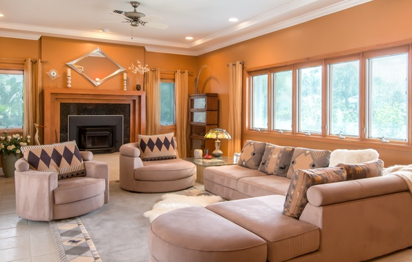 Wallpaper living room sofa fireplace pillow windows for Living room 640x1136