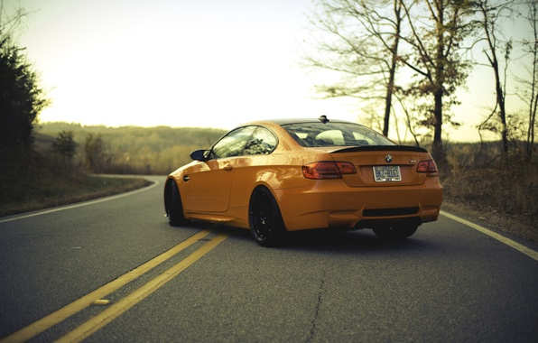 Picture road, orange, markup, BMW, BMW, orange, back, e92