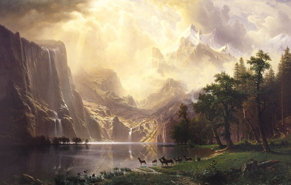 Picture forest, the sky, landscape, mountains, lake, waterfall, deer, Bierstadt