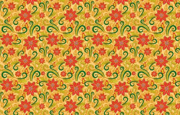 Picture flowers, orange, pattern