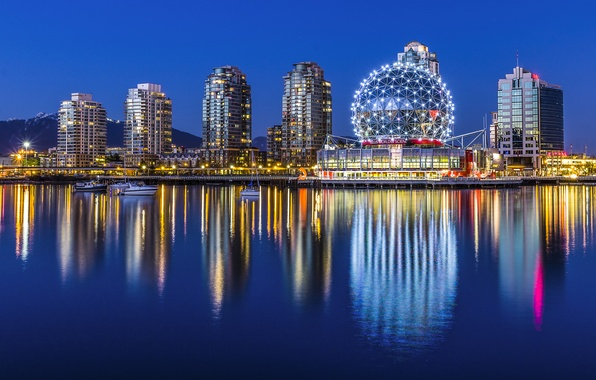 Picture water, night, the city, lights, reflection, building, home, boats, Canada, Vancouver, Museum, Canada, Vancouver, Yaletown