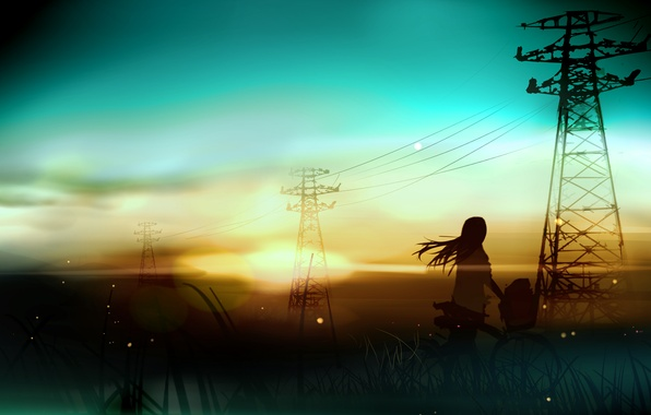 Picture girl, landscape, sunset, bike, wire, art, power lines, rushka