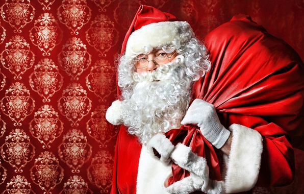 Picture beard, Santa Claus, bag, Santa Claus