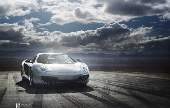 Picture McLaren, Clouds, Day, MP4-12C, Supercar, Silver, Alex Murtaza