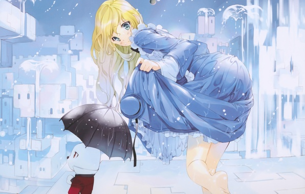 Picture girl, drops, the city, rain, home, hat, umbrella, anime, rabbit, art, ueda ryou