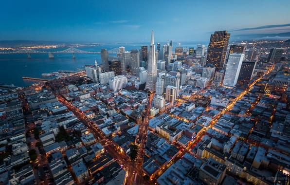 Picture height, skyscrapers, CA, panorama, USA, megapolis, California, San Francisco