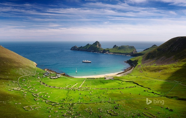 Picture sea, the sky, mountains, ship, Bay, valley, Scotland, Village Bay, the island of Hirta
