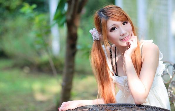Redhead asian girl