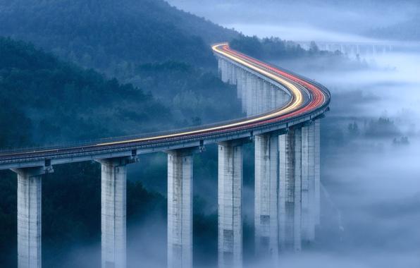 Picture light, bridge, lights, fog, morning